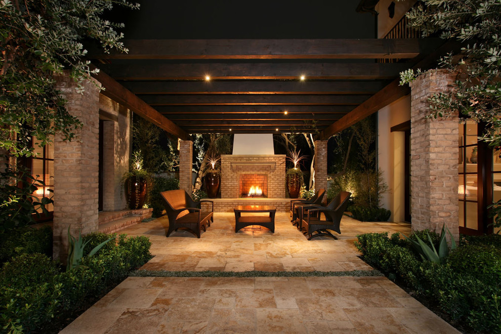 Modern Loveseat Patio Contemporary with Agave Brick Column Container Plant Courtyard Covered Patio Entry Exposed Beams Glass