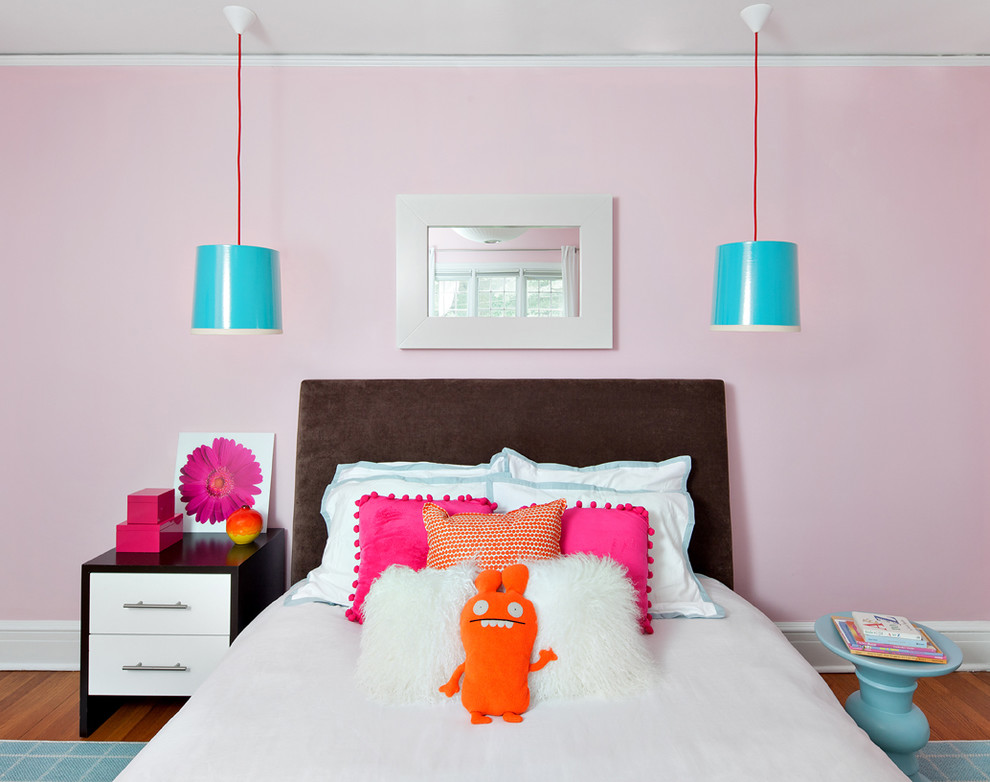 Modern Nightstand Kids Contemporary with Bright Blue Pendant Light Brown Headboard Floral Art Light Blue Stool Pink