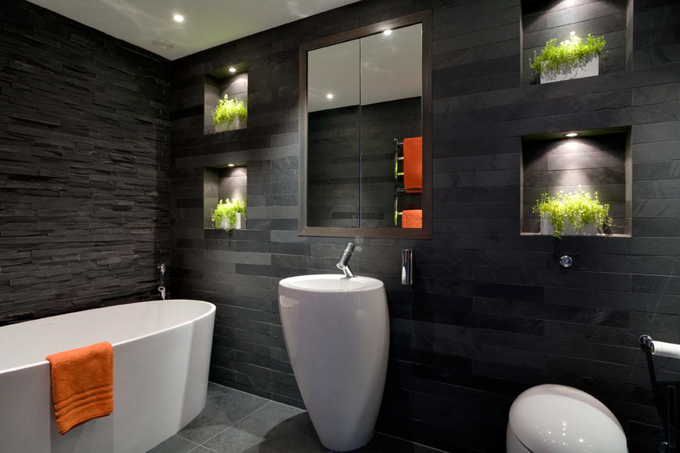 Modern Pedestal Sink Bathroom Contemporary with Avant Garde Faucet Black and White Bathroom Black Tile Walls Dark Bathroom