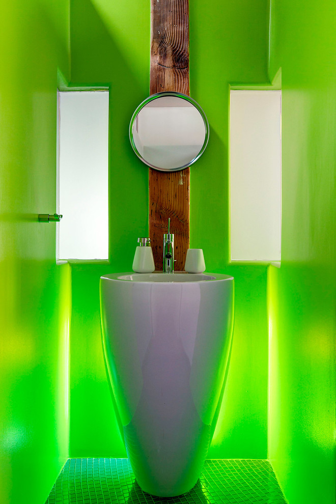 Modern Pedestal Sink Bathroom Modern with Modern Freestanding Sink Modern Pedestal Sink Modern Pedestals Ink Neon Green Lighting