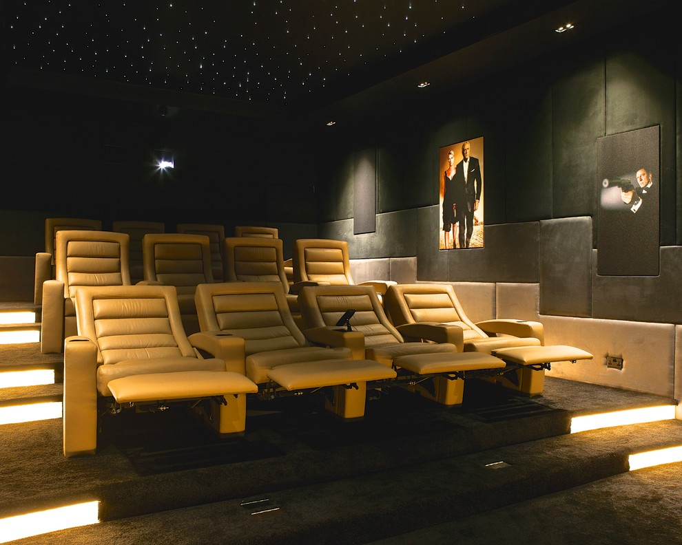 Modern Recliner Home Theater Contemporary with Art Lighting Ceiling Lighting Cinema Chair Floor Lighting Home Cinema James Bond