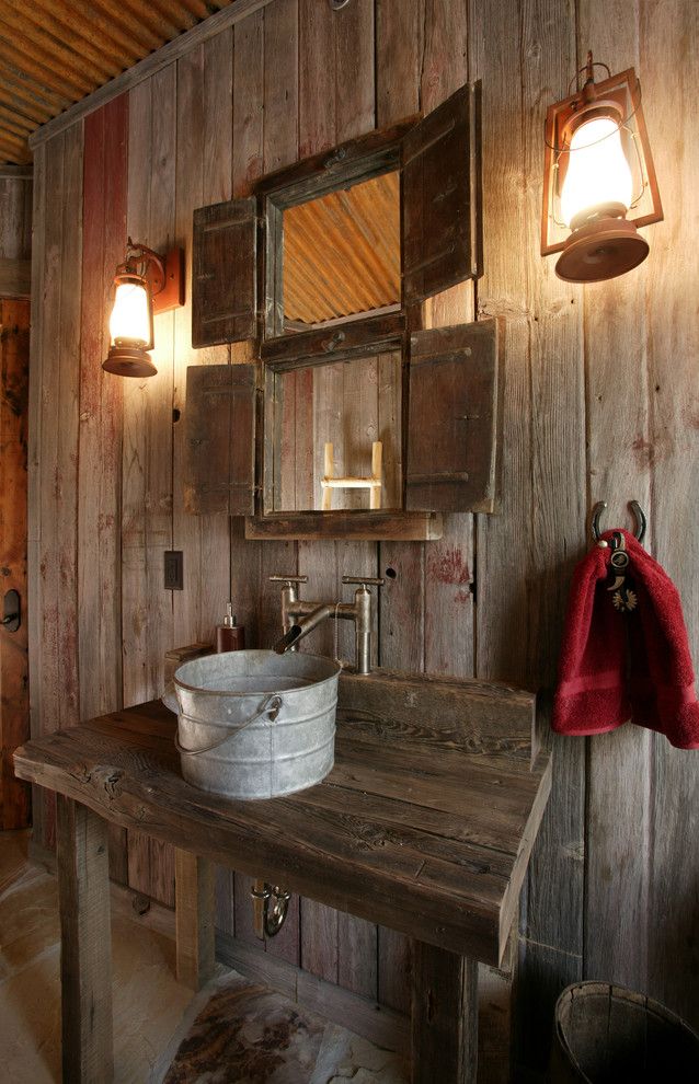 modern sconces Powder Room Rustic with bridge faucet bucket sink cabin corrugated metal roof freestanding vanity Horseshoe lanterns