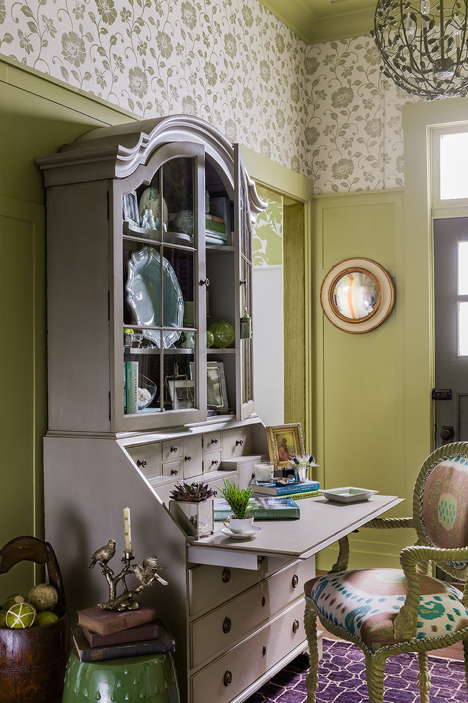 Modern Secretary Desk Home Office Traditional with Beige Secretary Desk Board and Batten Fabric Artwork Globe Chandelier Green And