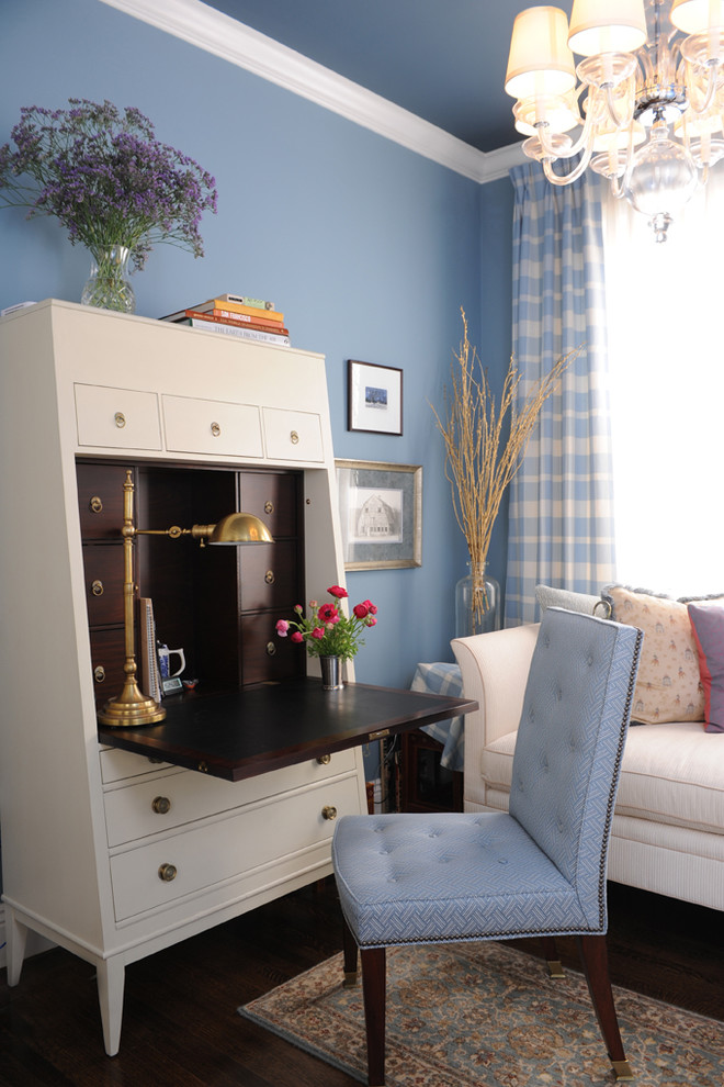 Modern Secretary Desk Home Office Traditional with Blue Blue and Brown Blue Walls Chaise Chandelier Chandelier Shades Crown Molding1