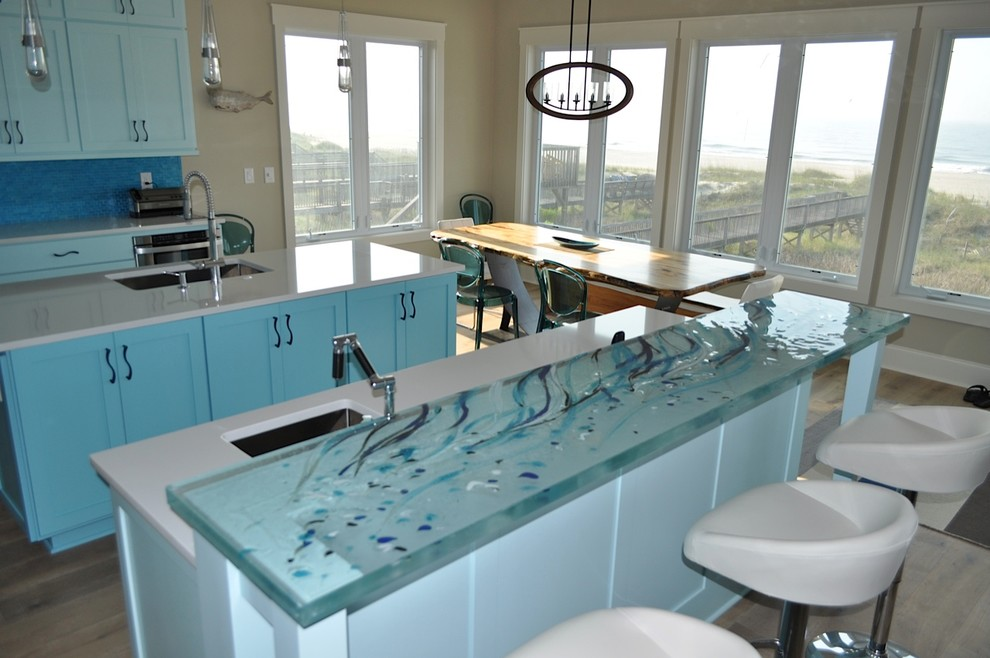 Modern Secretary Desk Kitchen Beach with Glass Art Glass Countertop Thick Glass Thinkglass