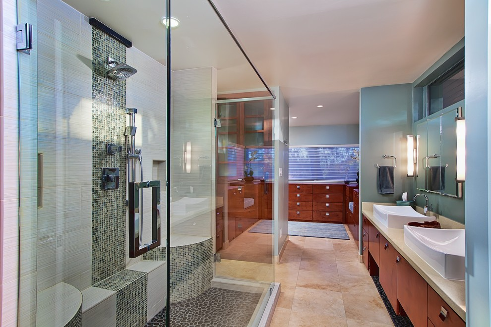 Modern Wall Sconce Bathroom Contemporary With Accent Tile Bathroom