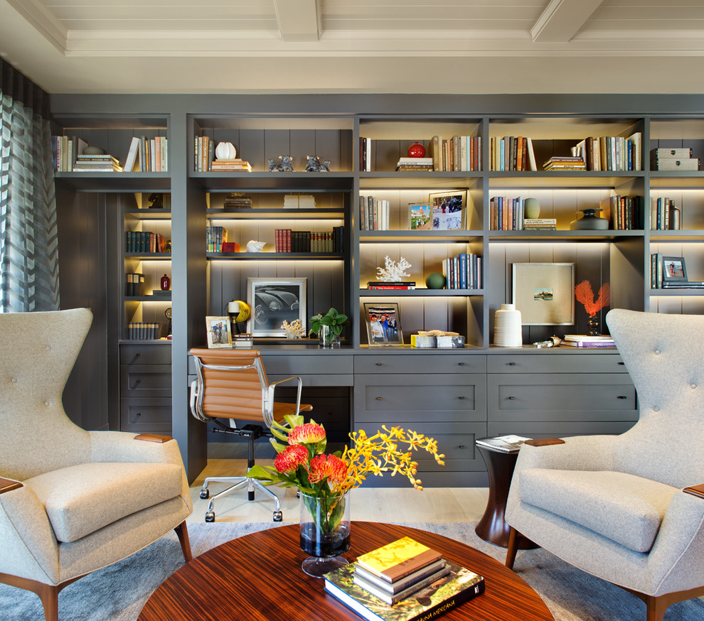 modern wingback chair Home Office Transitional with beamed ceiling bookshelves brown task chair gray area rug gray armchair gray