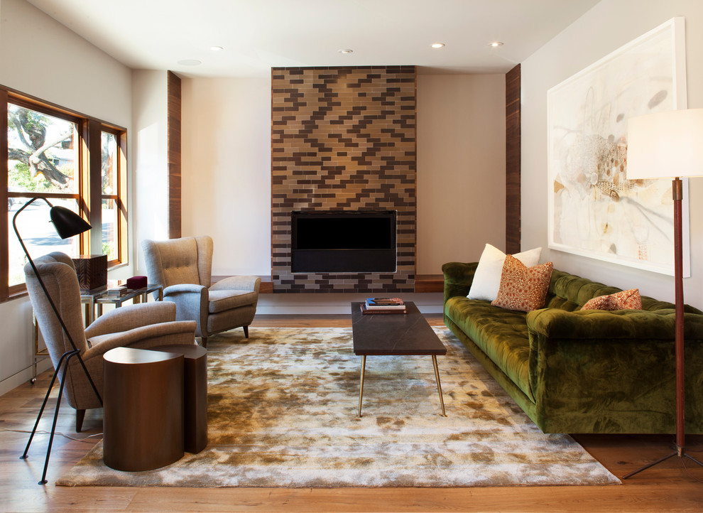 Modern Wingback Chair Living Room Contemporary with Accent Table Architectural Windows Area Rug Black Coffee Table Brick Fireplace Brown