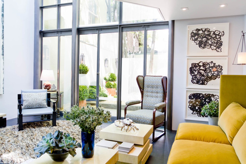 Modern Wingback Chair Living Room Contemporary with Area Rug Black and White Art Blue Armchair Blue Vase Gray Floor