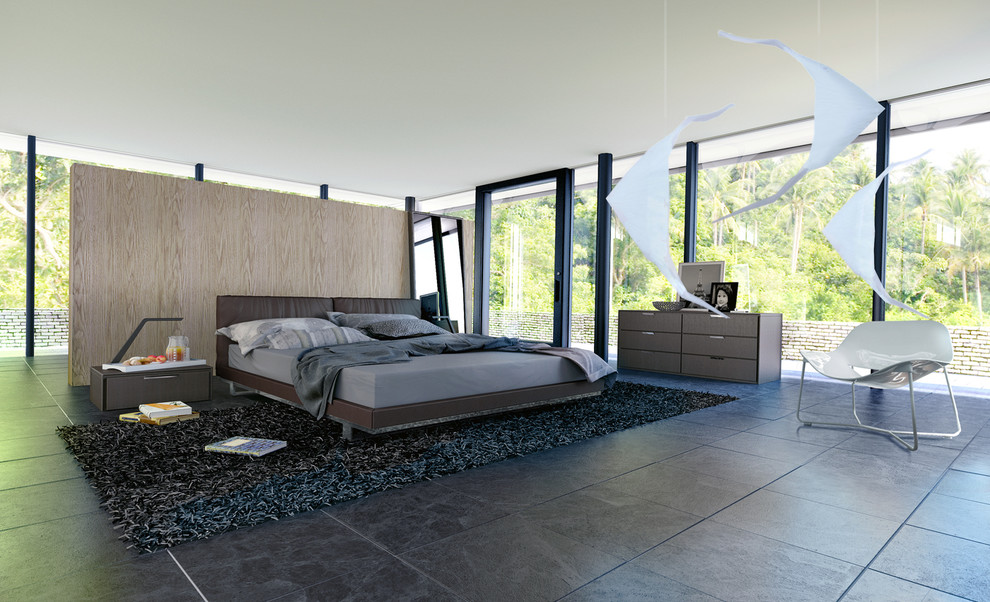 modloft Bedroom Contemporary with Bedroom broome brown dresser brown nightstand contemporary dark brown platform bed floor-to-ceiling