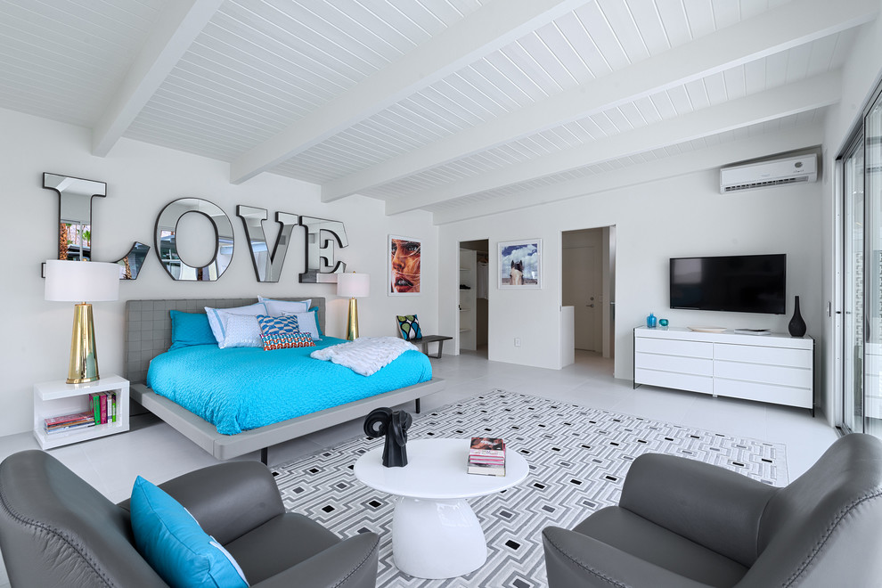 Modloft Bedroom Midcentury with Blue Bedding Casita Gold Table Lamps Gray Armchairs Mirrored Wall Letters Platform