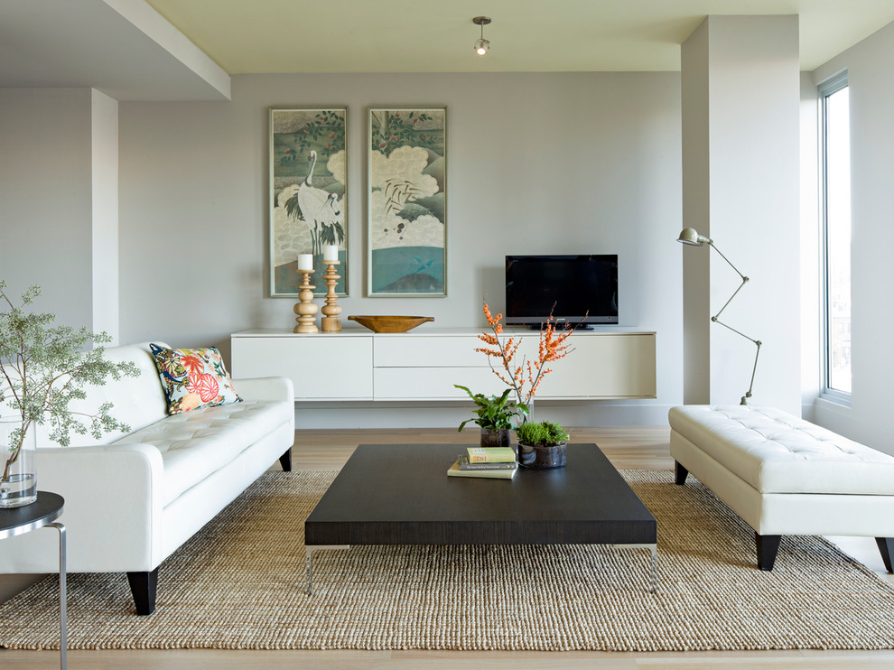 Modloft Living Room Modern with Asian Art Cantilevered Media Cabinet Floating Console Modern Modern Coffee Table Modern