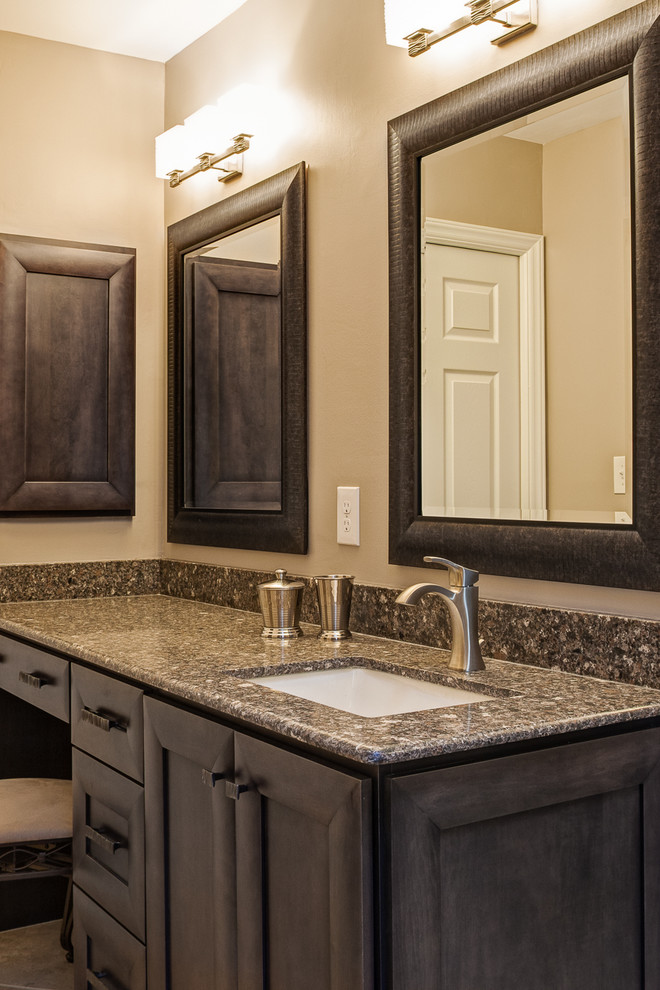 Moen Faucets Bathroom Contemporary with Brushed Nickel Faucet Double Mirrors Framed Mirrors Gray Stained Cabinets Makeup Area