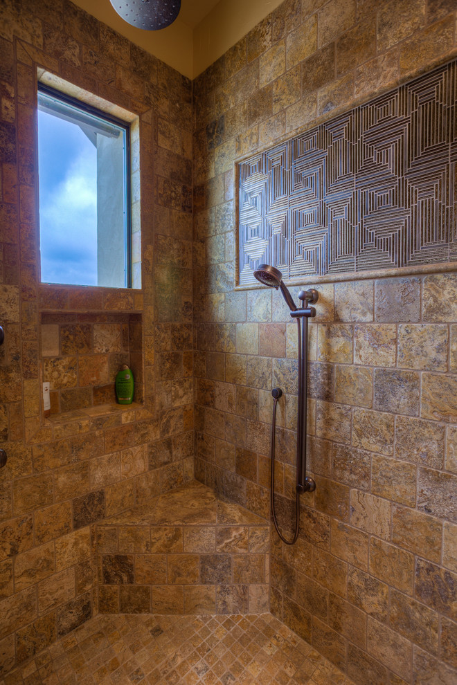 Moen Handheld Shower Bathroom Mediterranean with Comanche Trace Custom Home Custome Design Glass Tiles Handheld Hill Country Texas