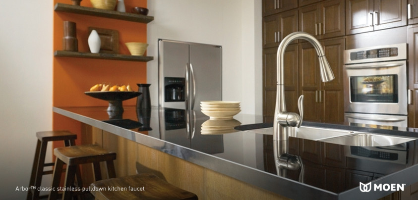 Moen Kitchen Faucets Kitchen Transitional with Built in Refrigerator Double Ovens Double Sink Faucet Granite Countertop Kitchen Faucet Stainless