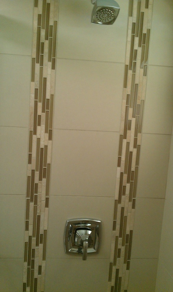moen shower faucets Bathroom Contemporary with bathroom glass and travertine linear mosaic tile light color shower tile Moen