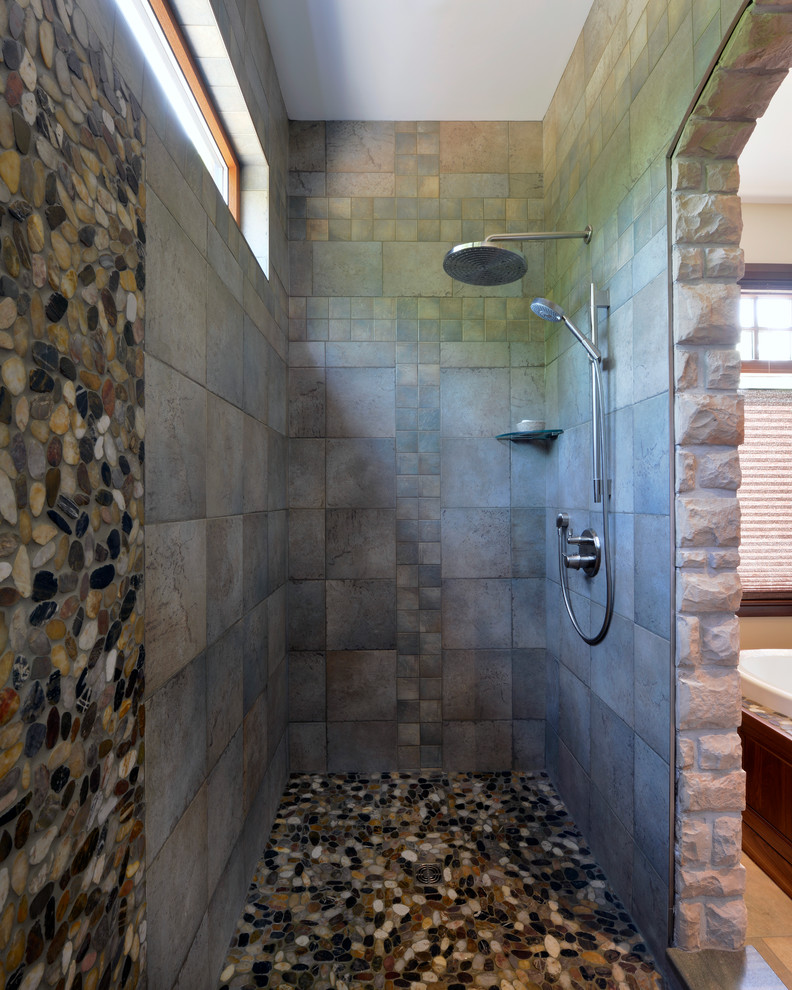 Mohawk Tile Bathroom Rustic with Beige Black Castle Flat Stone Tile Gray Tile Horizontal Window Masculine Medieval