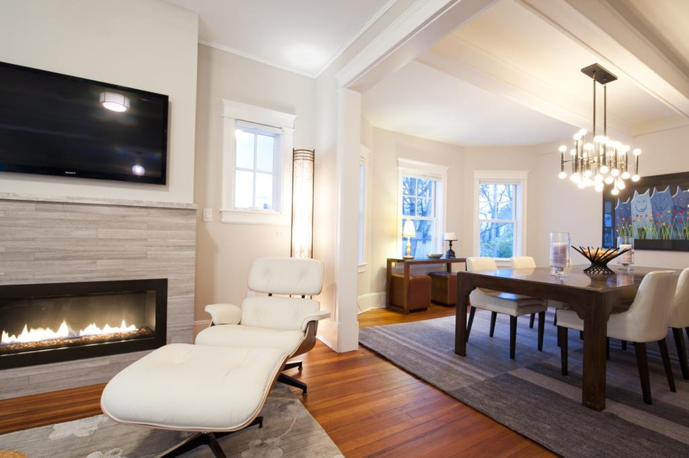 momeni Family Room Transitional with area rug bare bulb chandelier charles eames chenille Fireplace hardwood limestone linear