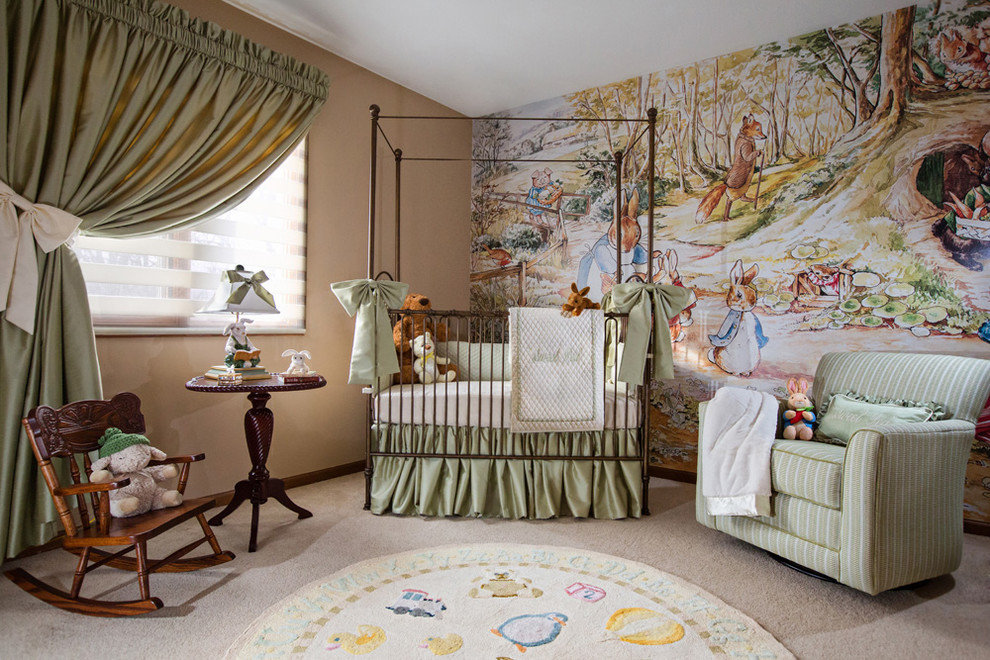 Momeni Nursery Traditional with Accent Wall Beatrix Potter Beige Walls Crib Green Curtains Ideas for Baby