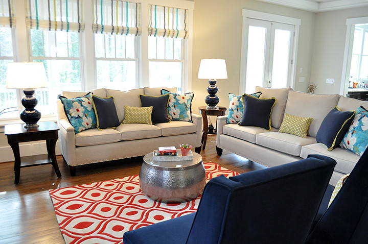Momeni Rugs Living Room Contemporary with Custom Sofa Family Room Gabby Gabby Home Harlequin Fabric Living Room Navy