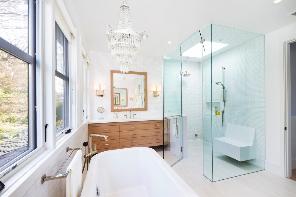 Monarch Specialties Bathroom Transitional with Master Bath Steam Shower White Bathroom White Stone Tile Wood Cabinets
