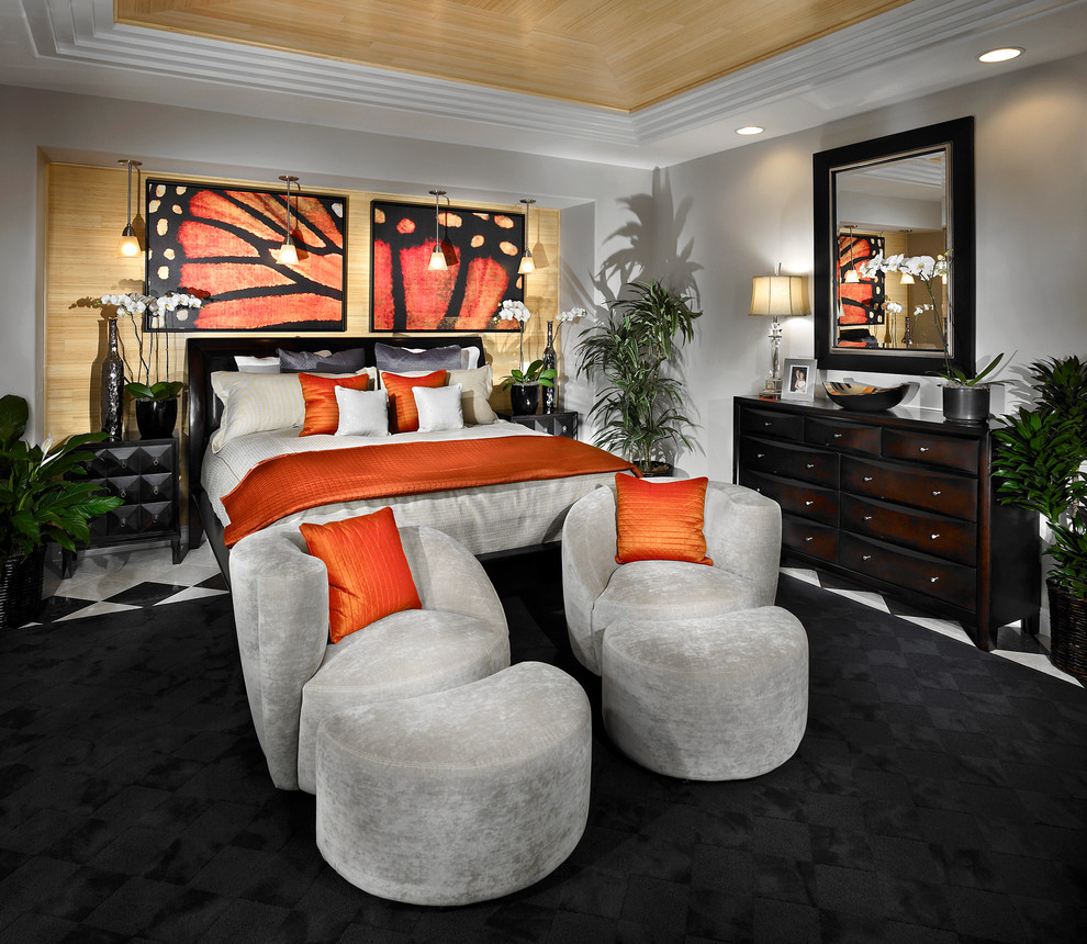 Monarch Specialties Bedroom Contemporary with Bedside Table Black Rug Ceiling Lighting Chest of Drawers Dresser Foot Of