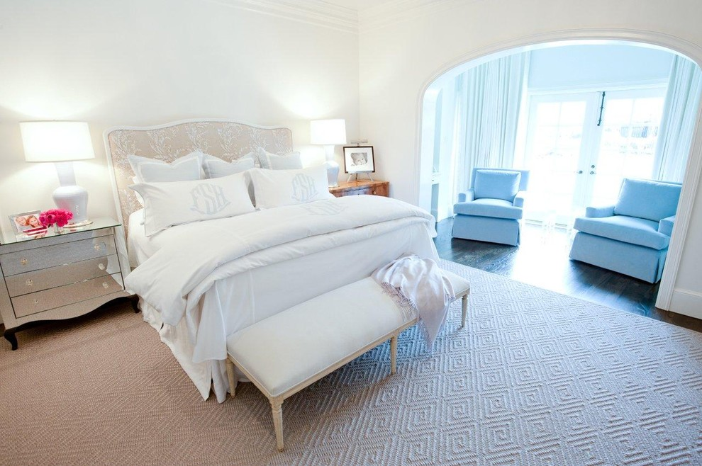 Monogram Doormat Bedroom Transitional with Archway Area Rug Baseboards Crown Molding Foot of the Bed Mirrored Chest