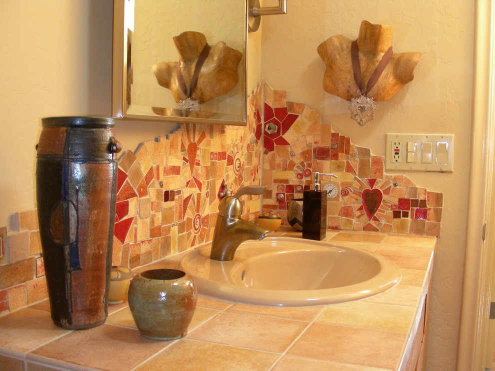 Mosaic Backsplash Bathroom Eclectic with None