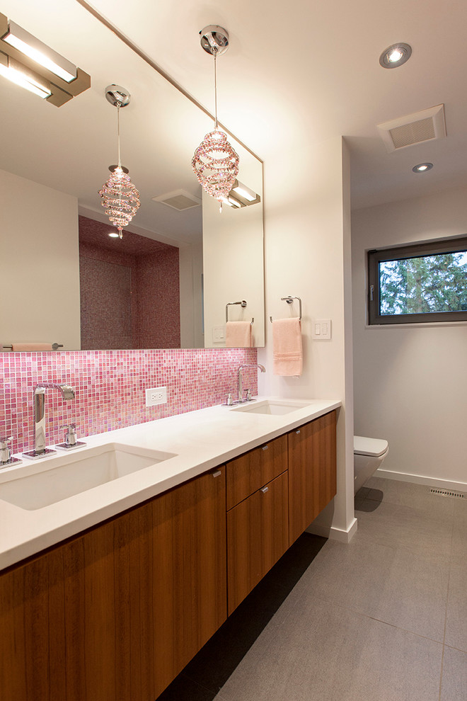 Mosaic Tile Backsplash Bathroom Contemporary with Grey Tile Large Mirror Mosaic Pink Mosaic Tiled Backsplash Vanity White Countertop