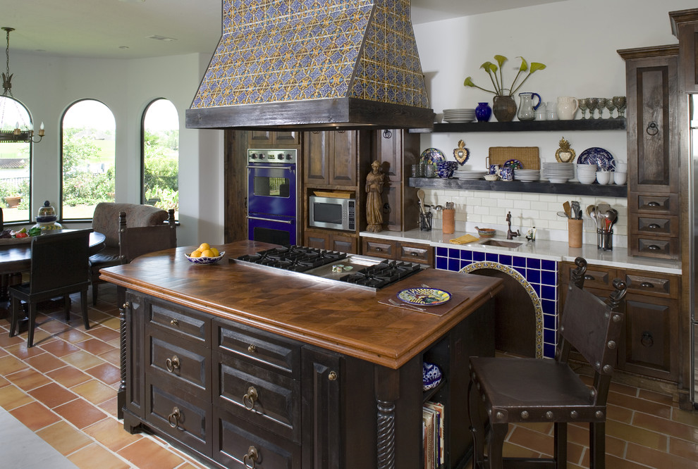 Mosaic Tile Backsplash Kitchen Mediterranean with Accent Tiles Barstools Black Cabinets Blue Oven Door Handles Drawer Pulls Kitchen