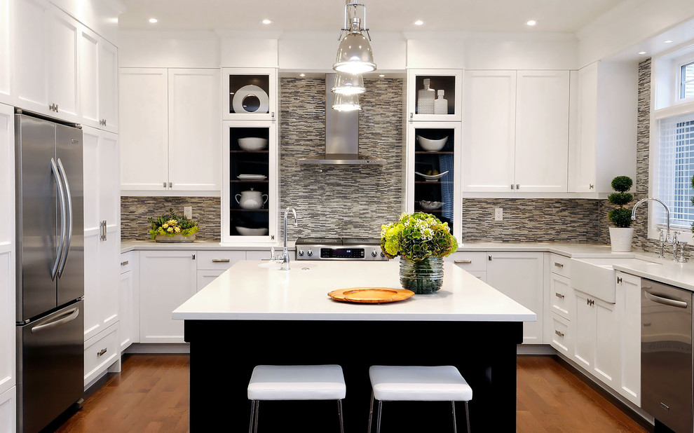 Mosaic Tile Backsplash Kitchen Transitional with Apron Sink Breakfast Bar Ceiling Lighting Eat in Kitchen Farmhouse Sink Glass