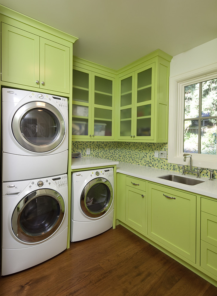 Mosaic Tile Backsplash Laundry Room Contemporary with Frosted Glass Glass Front Cabinets Green Cabinets Mosaic Tiles Neon Green Slab