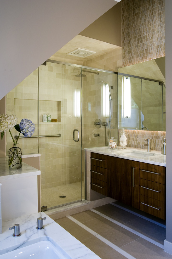 Motion Sensor Trash Can Bathroom Contemporary with Bathroom Hardware Canister Set Floating Vanity Hydrangeas Marble Countertops Mosaic Tiles Neutral
