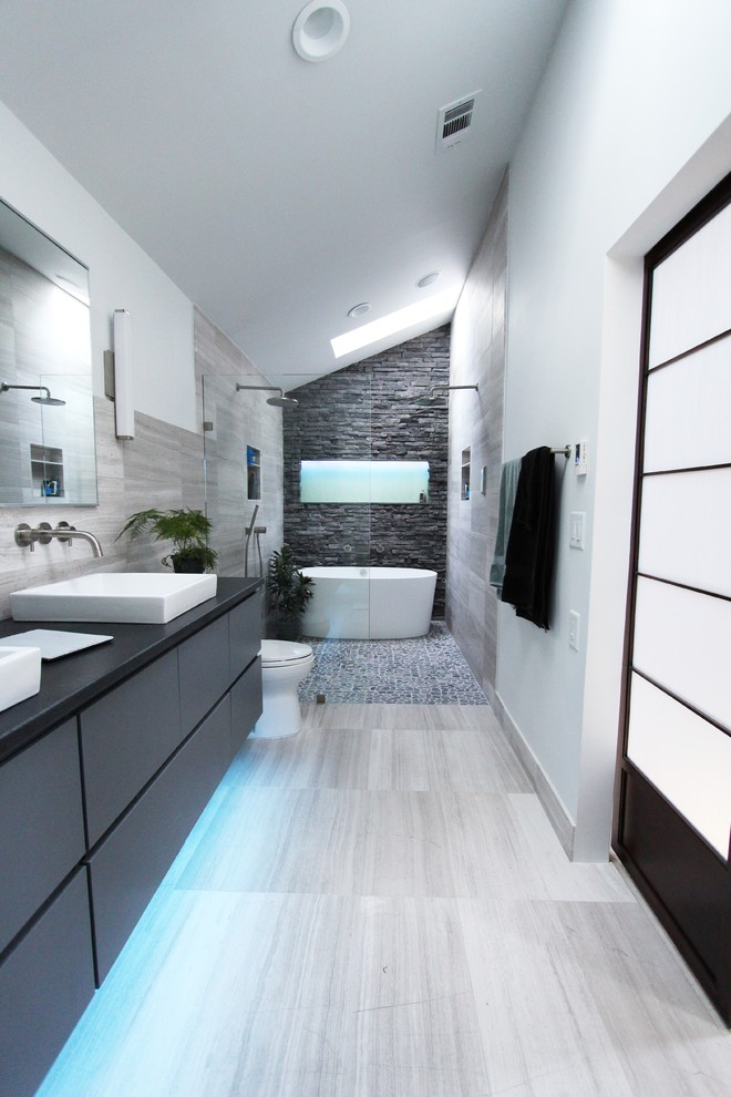 Motion Sensor Trash Can Bathroom Contemporary with Curbless Shower with Hidden Shower Drain Double Bathroom Sink Flat Pebble Shower
