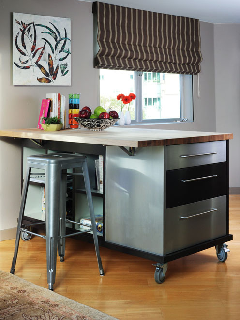 Movable Kitchen Island Kitchen Contemporary with Brown Butcher Block Castor Wheels Color Counter Tops Custom Design Custom Kitchen