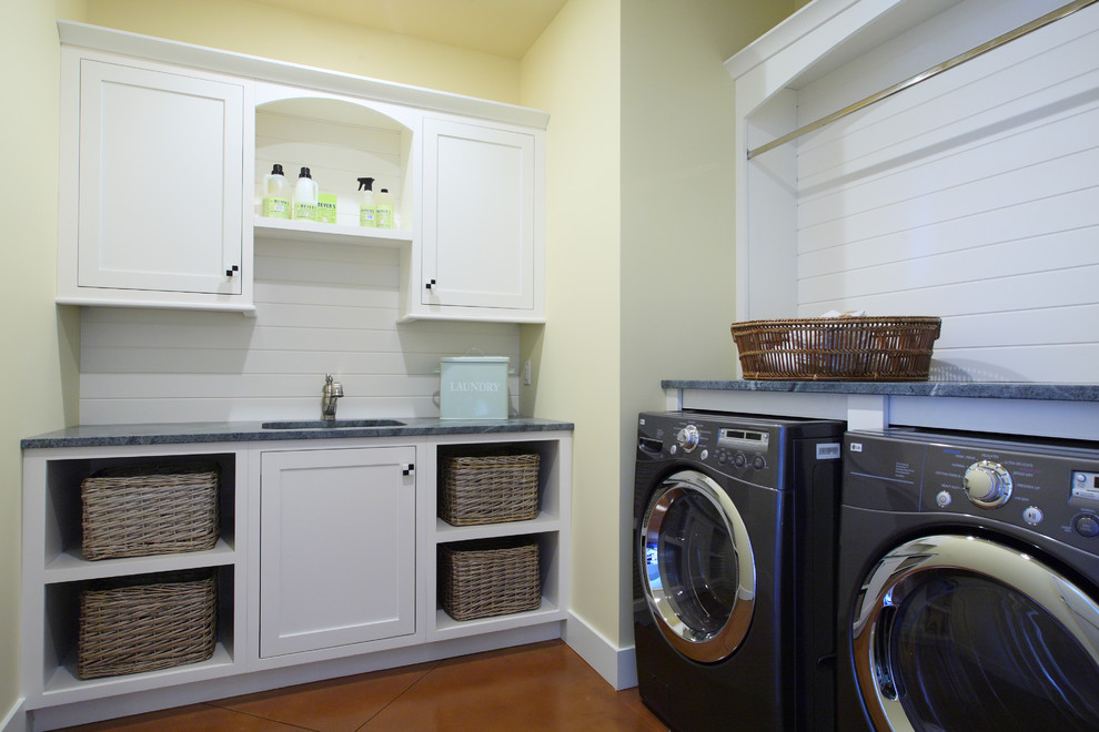 Mrs Meyers Candles Laundry Room Traditional with Built in Storage Butter Cream Walls Front Load Washer and Dryer Hanging