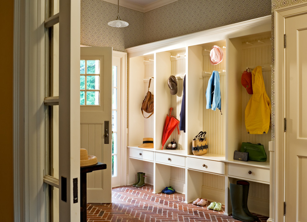 mud room furniture Entry Farmhouse with accessory room addition beadboard boot storage brick floor built in built in