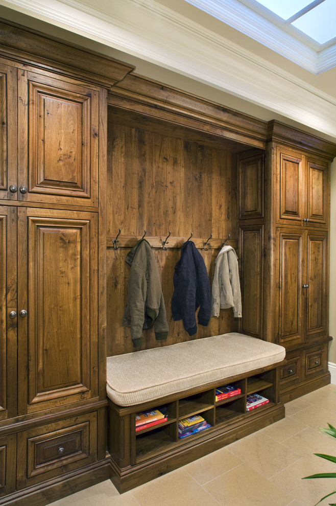Mud Room Furniture Hall Traditional with Bench Built in Cabinets Built in Wood Cabinets Coat Closet Coat Hooks