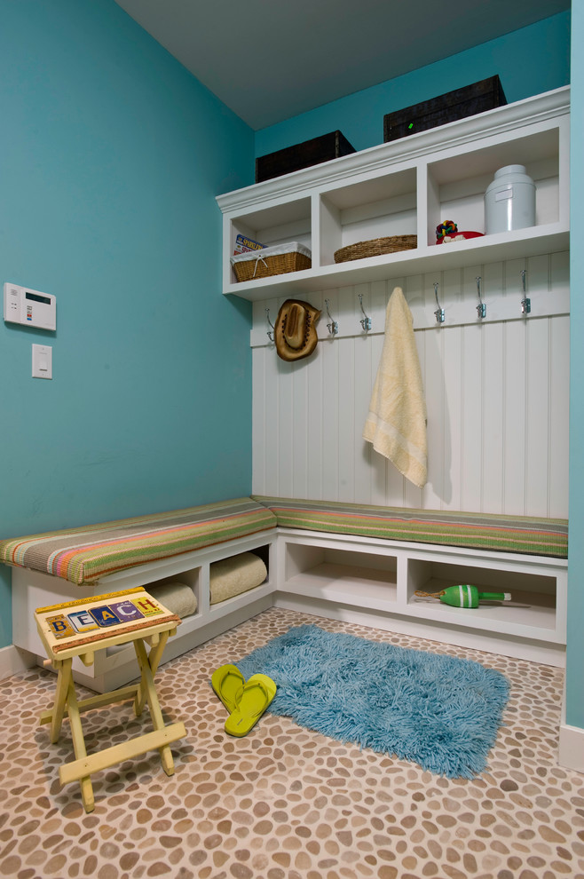 Mudroom Bench Entry Contemporary with Baskets Beachy Coat Rack Contemporary Cubbies Durable Entry Floor Mat Blue Fun