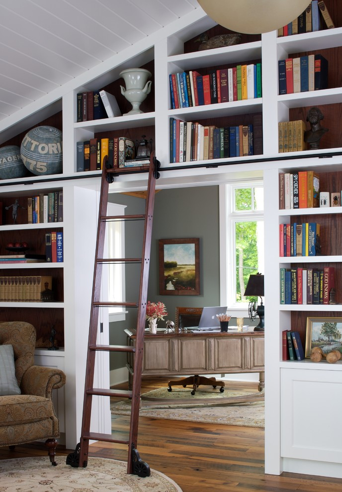 Multi Position Ladder Home Office Traditional with Bookshelves Built in Shelves Built in Storage Library Library Ladder Rolling Ladder