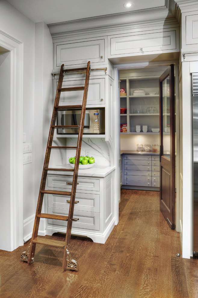 Multi Position Ladder Kitchen Traditional with Baseboards Built in Storage Crown Molding Custom Kitchen Library Ladder Microwave Cabinet Modern