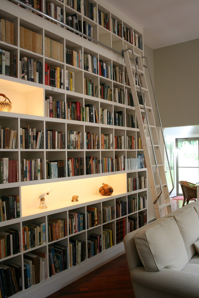 Multi Position Ladder Living Room Contemporary with Bookcase Books Bookshelves Built in Bookcase Built in Shelves Captains Ladder Collection