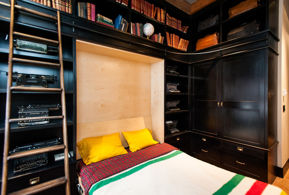 murphy beds for sale Bedroom Eclectic with books built ins built-in bookcase dark wood HBC Hudson Bay Company ladder