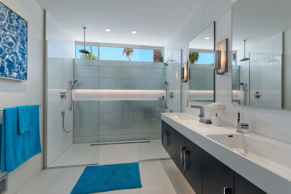 Murray Feiss Bathroom Midcentury with Blue Bat Mat Custom Wall Niche Floating Cabinet Floating Vanity Master Bath