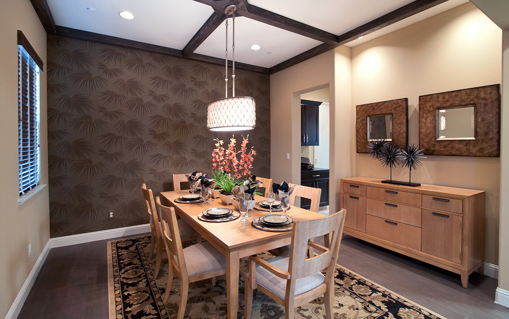Murray Feiss Dining Room Contemporary with Accent Wall Area Rug Ceiling Lighting Coffered Ceiling Dark Wall Drum Pendant