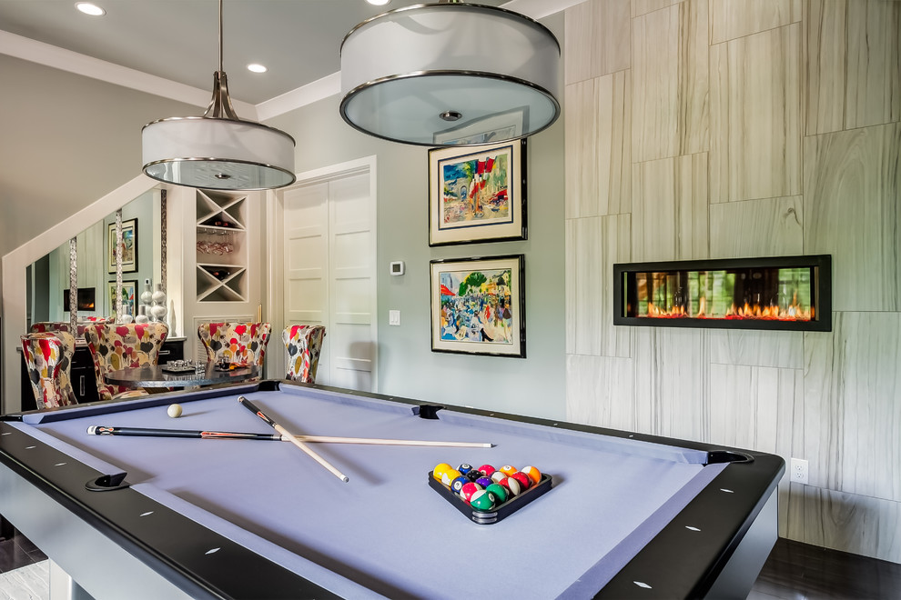 Murray Feiss Lighting Basement Transitional with Basement Basement Bar Game Room Game Tables Gas Fireplaces Gray Grey Multiple