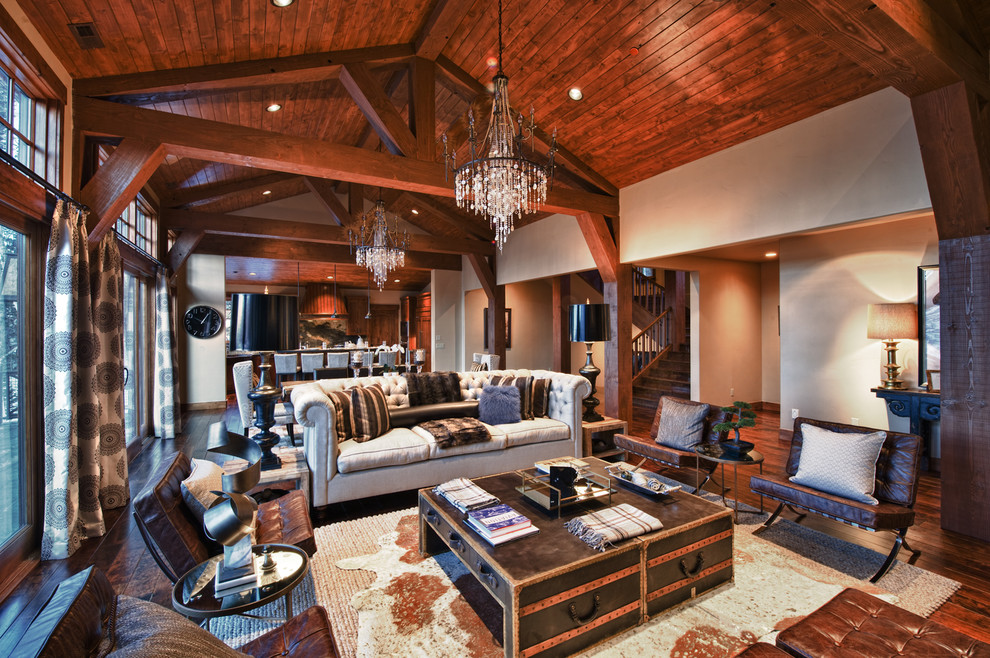 Murray Feiss Lighting Living Room Contemporary with Ceiling Lighting Chandelier Cowhide Rug Curtains Drapes Earth Tone Colors Exposed Beams