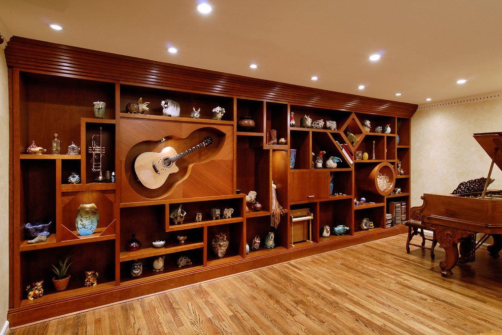 musical snow globes Living Room Eclectic with Art built in shelving Custom Woodwork guitar display music room niche open
