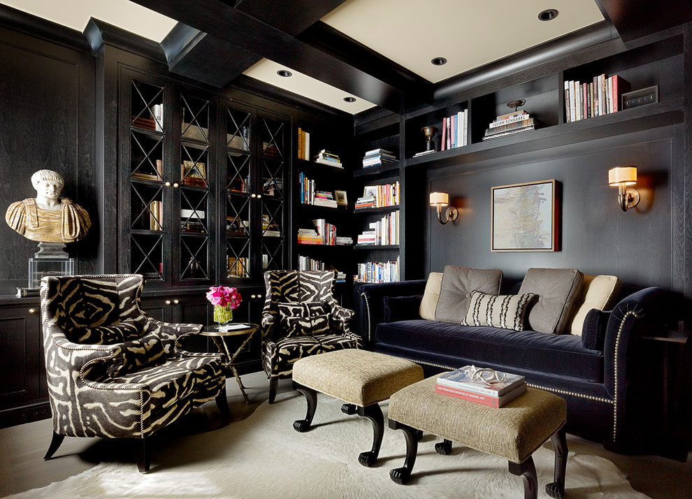 Nailhead Sofa Home Office Traditional with Animal Striped Chair Beige Ceiling Beige Ottoman Black Ceiling Beams Black Walls
