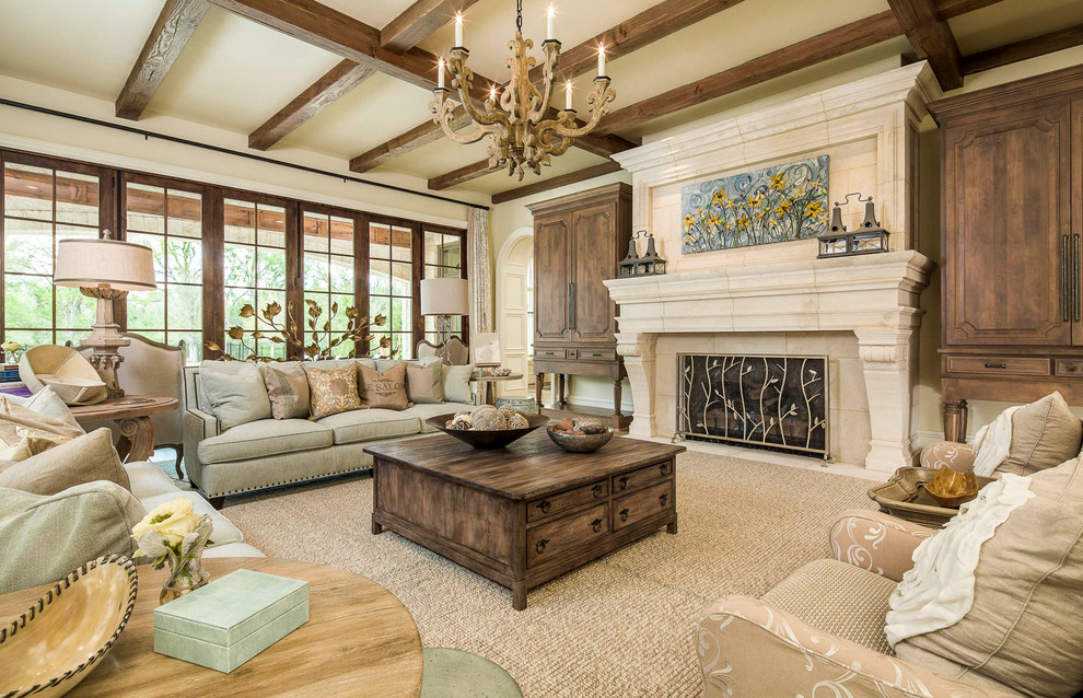 Nailhead Sofa Living Room Traditional with Beige Armchair Beige Wall Ceiling Beams Chandelier Fireplace Artwork Fireplace Screen Gray